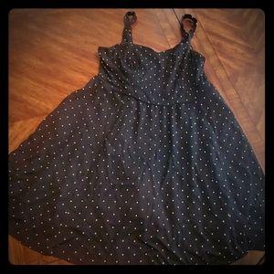 Torrid black and white polka dot dress